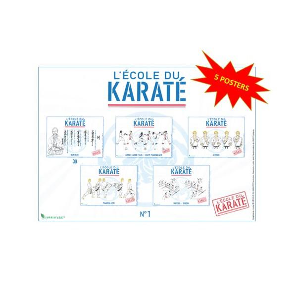 5 posters L'École du Karaté, 42 x 30 cm - Courtonne, Descours & Luzio