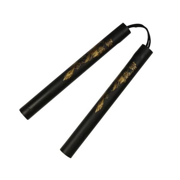 Nunchaku mousse, 30 cm, noir lisse avec dragon - Corde