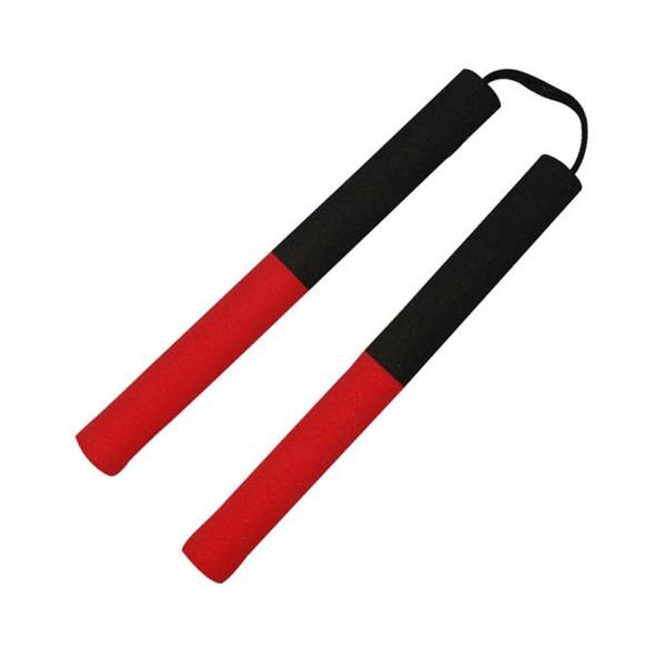 Nunchaku mousse, 30 cm, noir poignées rouges - Corde