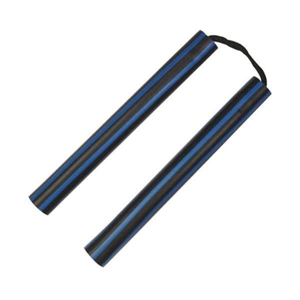 Nunchaku mousse, 30 cm, lignes noires & bleues - Corde