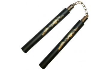 Nunchaku mousse, 30 cm, noir lisse avec dragon - Chaîne à rotule