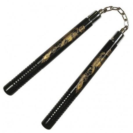 Nunchaku rond.poig.striées, 30 cm, noir avec dragon - Chaîne à rotule
