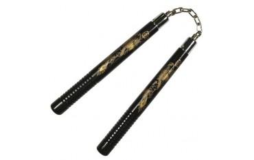 Nunchaku rond, poignées striées, 30 cm, noir avec dragon - Chaîne à rotule