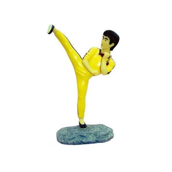 """Statuette Bruce Lee """"Coup de pied"""", hauteur 18 cm"""