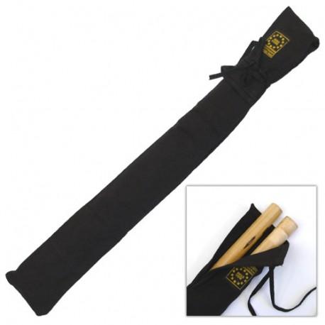 Etui en tissu coton, bas renforcé & bandoulière, 75 cm - Noir
