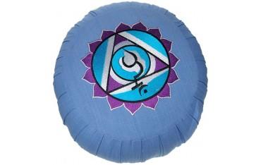 Zafu Chakra Vis., coussin médit., coton & kapok, 35x20cm - Bleu Clair