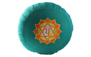 Zafu Chakra Anahat., coussin médit., coton & kapok, 35x20cm - Vert