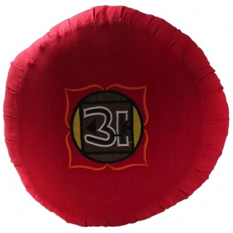 Zafu Chakra Muladh., coussin médit., coton & kapok, 35,5x20cm - Rouge