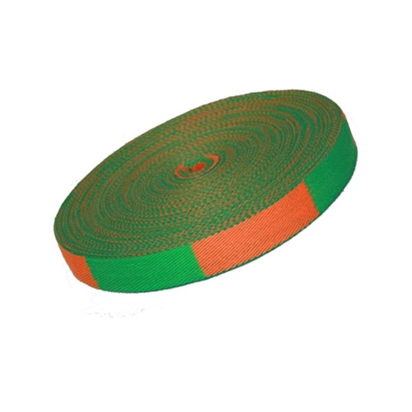 Ceinture sangle bicolore JUDO, rouleau 50 mètres - ORANGE/VERT