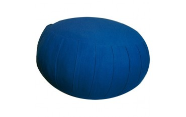 Zafu GM, coussin méditation, coton & kapok, 34 x 25,5cm - Bleu Uni