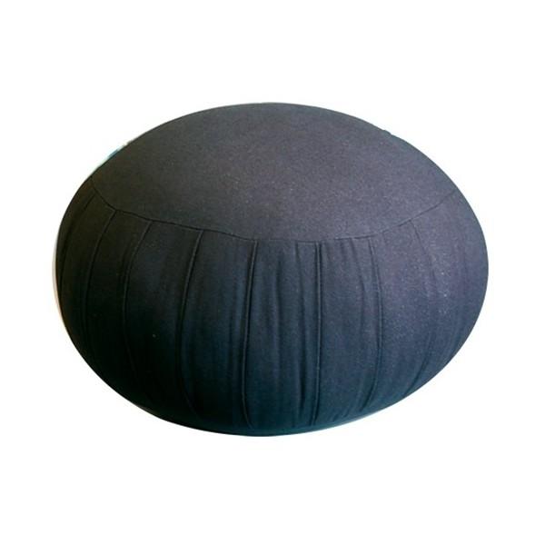 Zafu GM, coussin méditation, coton & kapok, 34 x 25,5cm - Noir Uni