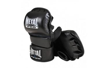 Gants de compétition Combat Libre / Pancrace, en cuir, mousse injectée et néoprène, METAL BOXE, Taille Large - NOIR