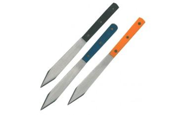 Couteaux à lancer 15 cm, pochette de 3 - Acier poli/manches 3 coul.