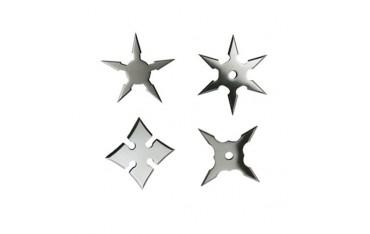 Etoiles à lancer, pochette de 4 (diff mod), diam 6 cm - Acier poli