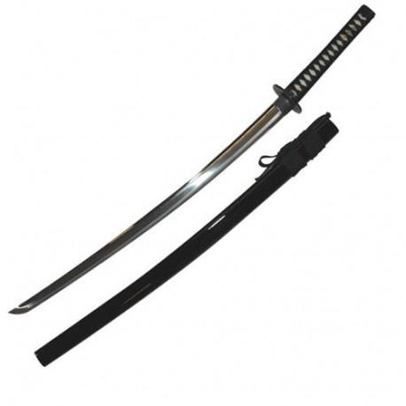 Iaito JAPON Standard T-3, lame à gorge 76 cm, fourreau laqué noir