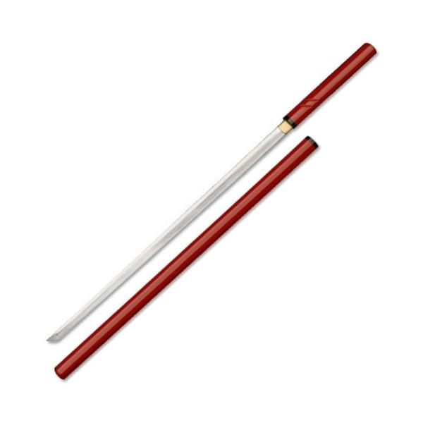 Katana Zatoichi tranchant, acier forgé 72.5 cm, fourreau rouge +boîte