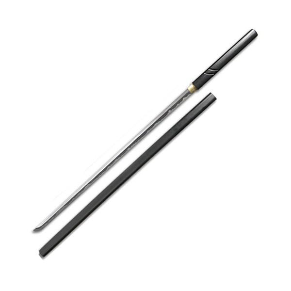 Katana Zatoichi tranchant, acier forgé 72.5 cm, fourreau noir + boîte