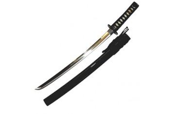 Wakizashi JAPON standard T-3, lame à gorge 48 cm, fourreau laqué noir