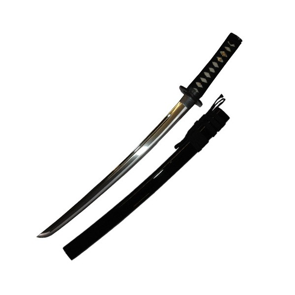 Wakizashi JAPON Jidae Koshirae, lame à gorge 48 cm, four. noir grains