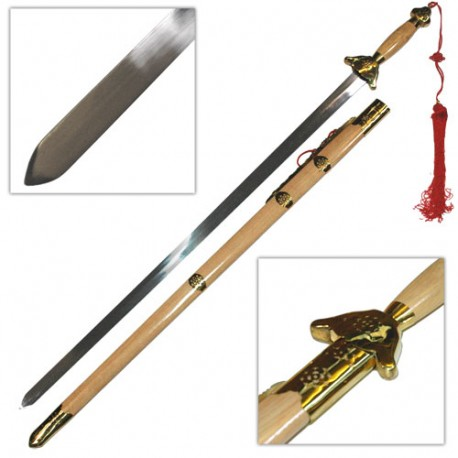 Epée chinoise semi-flexible avec fourreau, lame métal 91 cm