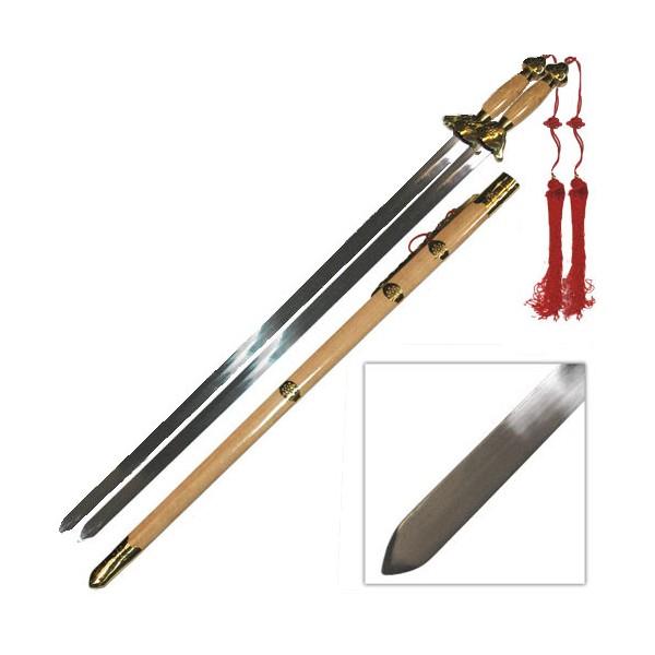 Epée chinoise double, lame métal 74 cm