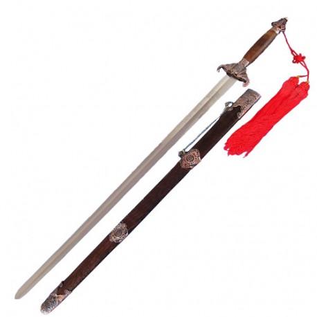 Epée chinoise semi-flexible, lame acier forgé 76 cm, four. bois exot.