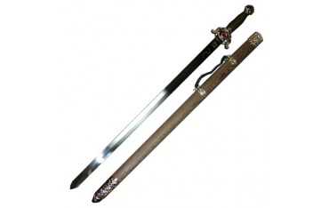 Epée chin. Bagua/Taiji, acier poli rigide 76cm, four. bois exot.+coff