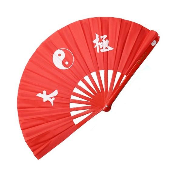 Eventail lamelles bambou, imprimé Yin Yang & Calligraphies - ROUGE