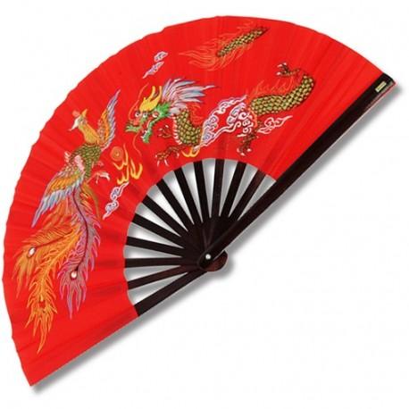 Eventail lamelles bambou, imprimé Poenix & Dragon - ROUGE