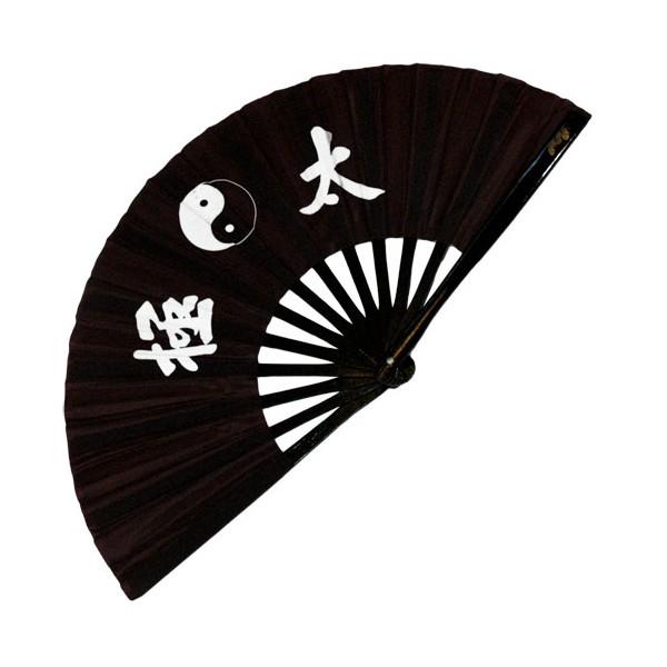 Eventail lamelles bambou, imprimé Yin Yang & Calligraphies - NOIR