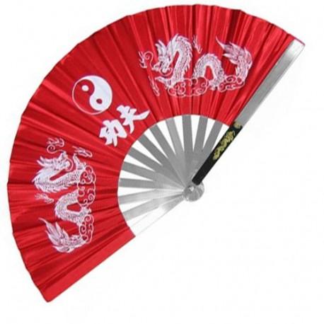 Eventail de combat en métal, imprimé Yin Yang & Dragons - ROUGE