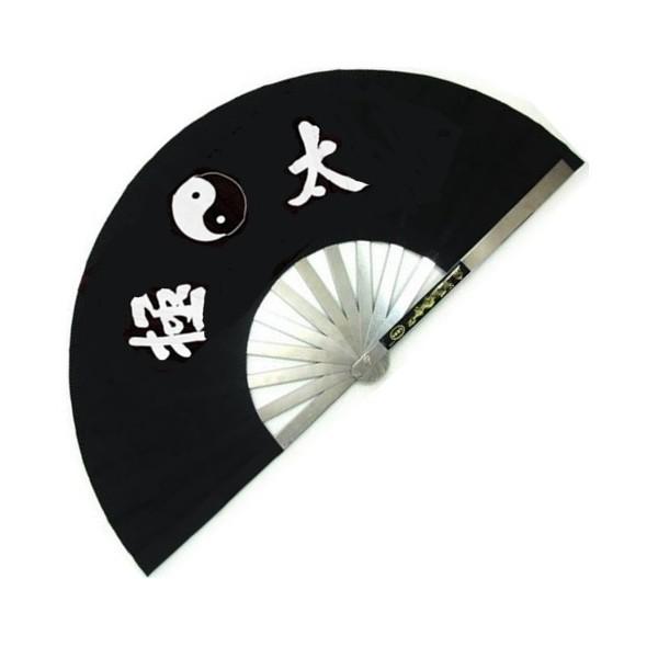 Eventail de combat en métal, imprimé Yin Yang & Calligraphies - NOIR