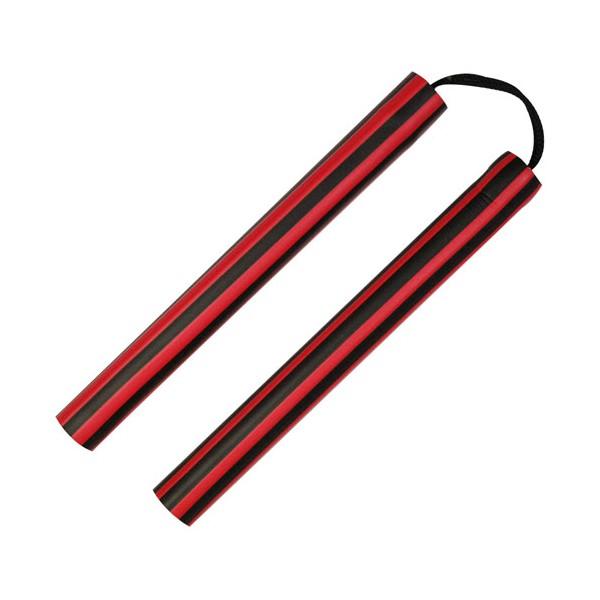 Nunchaku mousse, 30 cm, lignes noires & rouges - Corde