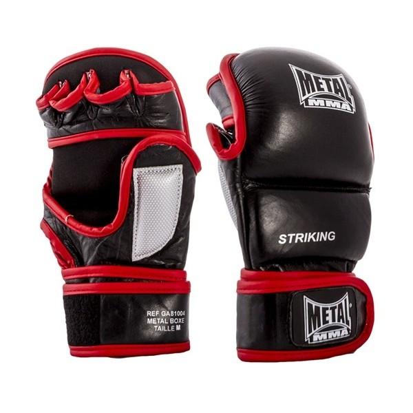 """Gants de MMA MB """"Strike"""", Cuir & mousse injectée, T.S/M - NOIR/ROUGE"""