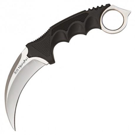 Karambit tranchant, acier, manche GRIP noir, lame 11 cm + étui cuir
