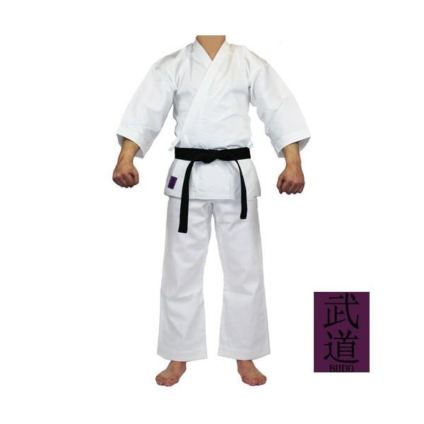 Tenue KARATE Budo Classique cotelé 35%coton-65% polyest, 170 - BLANC