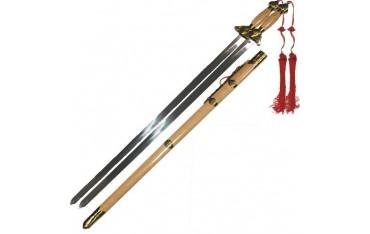 Epée chinoise double avec fourreau, lame métal 74 cm