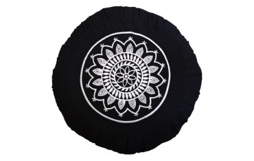 Zafu Mandala Blanche, coussin médit., coton & kapok, 35x18cm - Noir